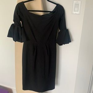 Off shoulder puff sleeve little black dress